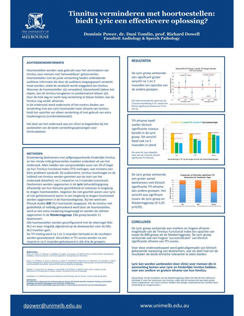 Resultaten Tinnitus onderzoek universiteit Melbourne